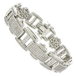 Rhodium-plated Sterling Silver Men's Cubic Zirconia Geometric 8.5-inch Bracelet