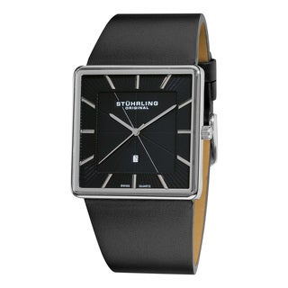 Stuhrling Original Men's Symphony Swiss Quartz Square Case Black Leather Strap Watch