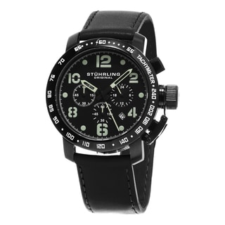 Stuhrling Original Men's Aviator Quartz Chronograph Black Leather Strap Watch