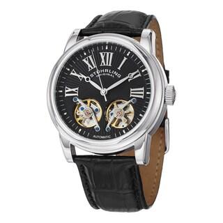 Stuhrling Original Men's Legacy Automatic Skeleton Black Leather Strap Watch