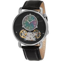 Stuhrling Original Men's Legacy Automatic Skeleton Black Leather Strap Watch