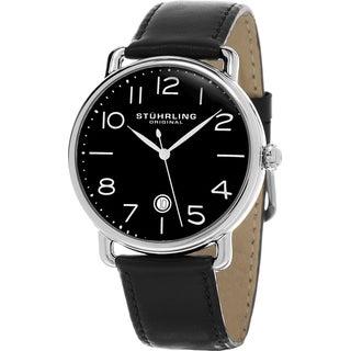 Stuhrling Original Men's Symphony Swiss Quartz Black Leather Strap Watch