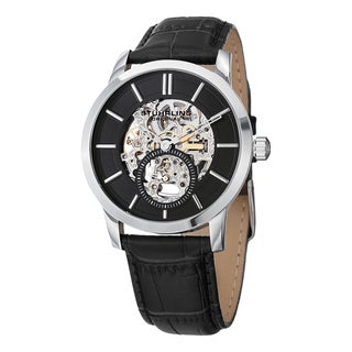 Stuhrling Original Men's Legacy Mechanical Skeleton Black Leather Strap Watch
