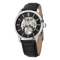 Stuhrling Original Men's Legacy Mechanical Skeleton Black Leather Strap Watch