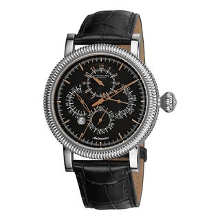 Stuhrling Original Men's Symphony Automatic Black Leather Strap Watch