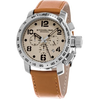 Stuhrling Original Men's Aviator Quartz Chronograph Tan Leather Strap Watch