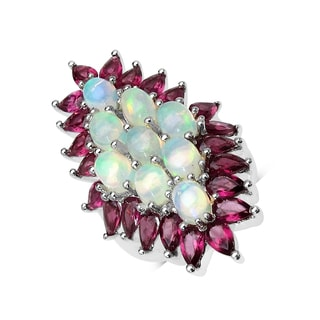Malaika 8.37 Carat Genuine Ethiopian Opal and Rhodolite .925 Sterling Silver Ring