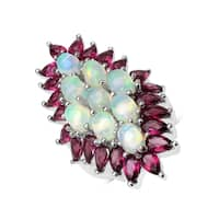 Malaika 8.37 Carat Genuine Ethiopian Opal and Rhodolite .925 Sterling Silver Ring