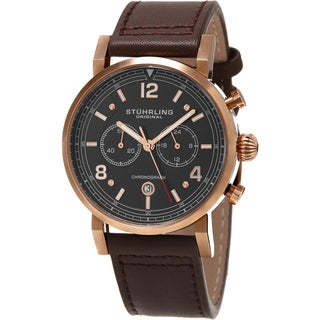 Stuhrling Original Men's Aviator Quartz Brown Leather Strap Watch