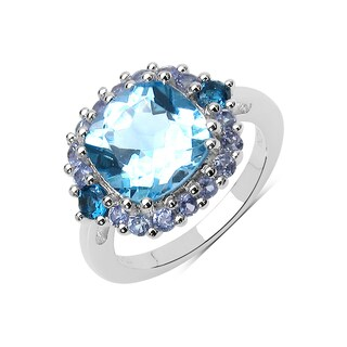 Malaika 5.95 Carat Genuine Blue Topaz, London Blue Topaz and Tanzanite .925 Sterling Silver Ring
