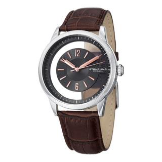 Stuhrling Original Men's Symphony Quartz Brown Leather Strap Watch