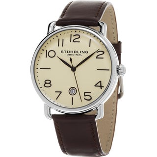 Stuhrling Original Men's Symphony Swiss Quartz Brown Leather Strap Watch