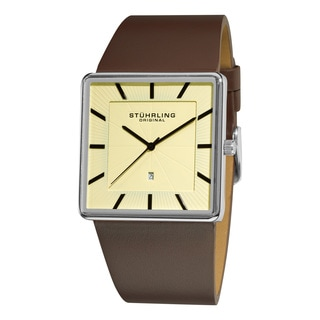 Stuhrling Original Men's Symphony Swiss Quartz Square Case Brown Leather Strap Watch
