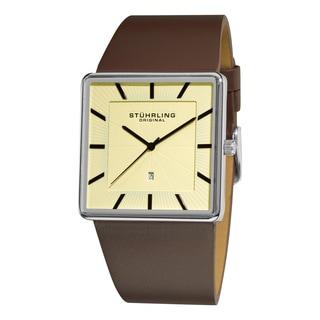 Stuhrling Original Men's Symphony Swiss Quartz Square Case Brown Leather Strap Watch