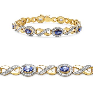 Malaika 14K Yellow Gold Plated 3.52 Carat Genuine Tanzanite .925 Sterling Silver Bracelet
