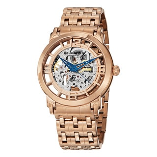 Stuhrling Original Men's Winchester Reserve Automatic Skeleton Rose Tone Bracelet Watch