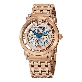 Stuhrling Original Men's Winchester Reserve Automatic Skeleton Rose Tone Bracelet Watch - GOLD
