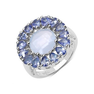 Olivia Leone 8.10 Carat Blue Chalcedonia and Tanzanite .925 Sterling Silver Ring