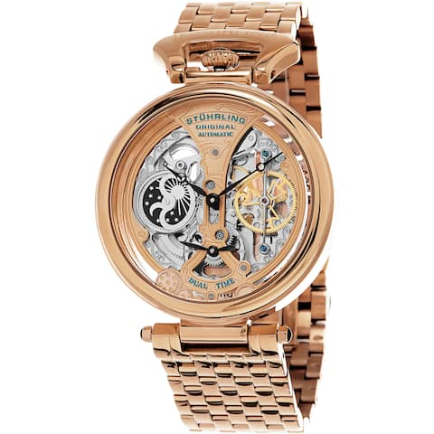 Stuhrling Original Men's Legacy Automatic Skeleton Rose Tone Bracelet Watch - Gold