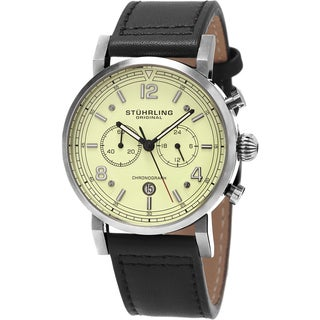 Stuhrling Original Men's Aviator Quartz Black Leather Strap Watch