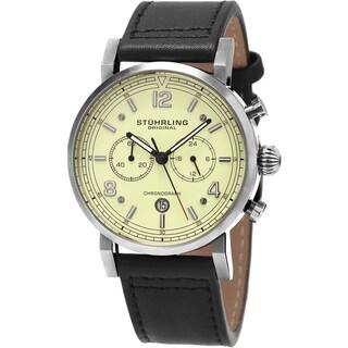 Stuhrling Original Men's Aviator Quartz Black Leather Strap Watch