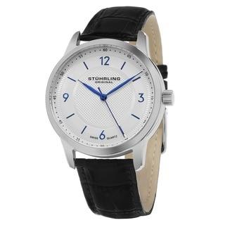 Stuhrling Original Men's Aviator Swiss Quartz Black Leather Strap Watch