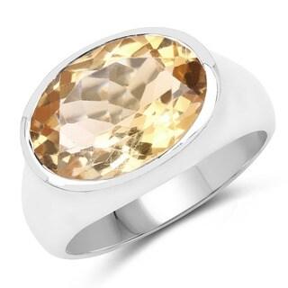 Olivia Leone 4.25 Carat Genuine Golden Citrine .925 Sterling Silver Ring