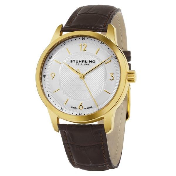Stuhrling Original Men's Symphony Swiss Quartz Brown Leather Strap Watch