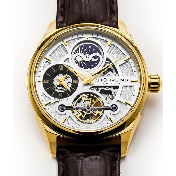 Stuhrling Original Men's Legacy Automatic Skeleton Brown Leather Strap Watch