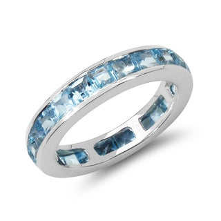 Malaika 4.30 Carat Genuine Blue Topaz .925 Sterling Silver Ring