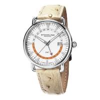 Stuhrling Original Men's Symphony Swiss Quartz Chanpagne Leather Strap Watch - silver