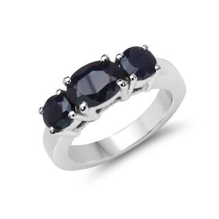 Malaika 2.80 Carat Genuine Black Sapphire .925 Sterling Silver Ring