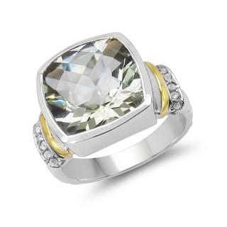 Malaika Two-tone Gold-Plated .925 Sterling Silver 6 2/5ct Green Amethyst and White Topaz Ring