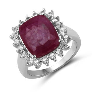 Malaika 7.40 Carat Genuine Ruby and White Topaz .925 Streling Silver Ring