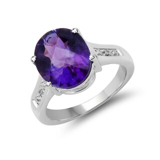 Malaika 4.26 Carat Genuine Amethyst and White Diamond .925 Sterling Silver Ring