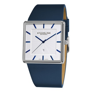Stuhrling Original Men's Symphony Swiss Quartz Square Case Blue Leather Strap Watch