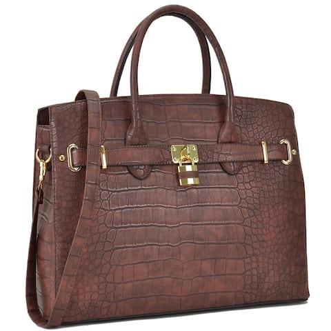 Dasein Crocodile Embossed Satchel Handbag with Padlock