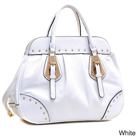 Dasein Large Studded Faux Leather Satchel