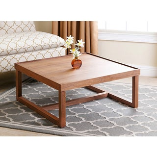 ABBYSON LIVING Conrad Walnut Wood Square Coffee Table