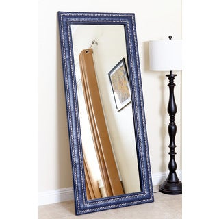 ABBYSON LIVING Maxx Navy Blue Leather Nailhead trim Floor Mirror