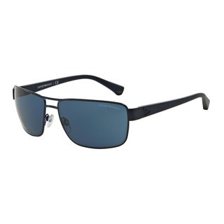 Emporio Armani Men's Blue Metal Rectangle Sunglasses