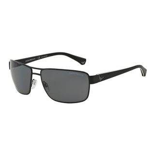 Emporio Armani Men's EA2031 310981 Black Metal Rectangle Polarized Sunglasses