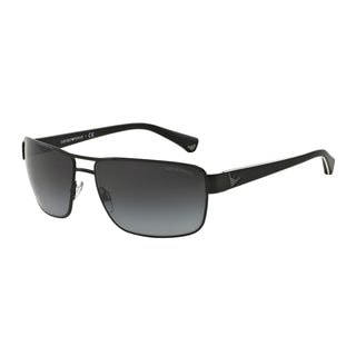 Emporio Armani Men's Black Metal Rectangle Sunglasses
