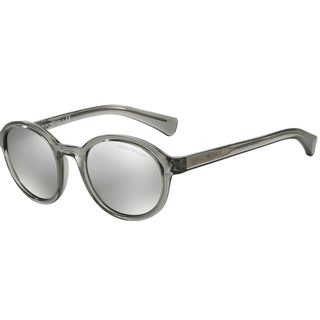 Emporio Armani Men's Grey Plastic Round Sunglasses