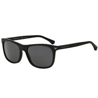 Emporio Armani Men's Black Plastic Rectangle Polarized Sunglasses
