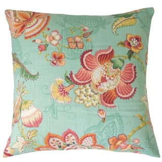 Lieve Floral Down and Feather Filled 18 - inch 18-inch Throw Pillow