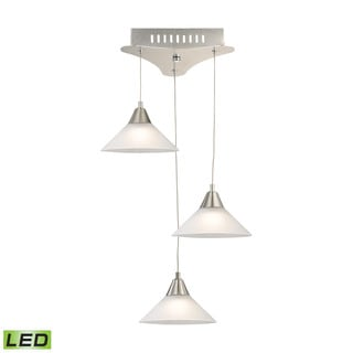 Alico Cono 3 Light LED Pendant In Satin Nickel With White Glass