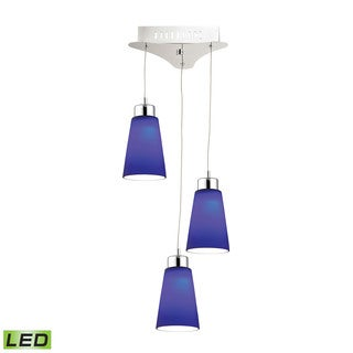 Alico Coppa 3 Light LED Pendant In Chrome With Blue Glass