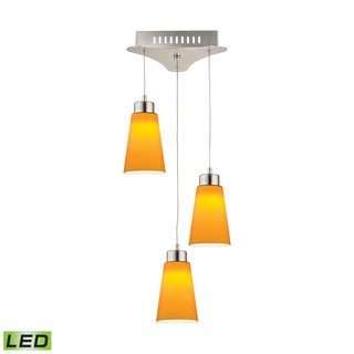 Alico Coppa 3 Light LED Pendant In Satin Nickel With Yellow Glass