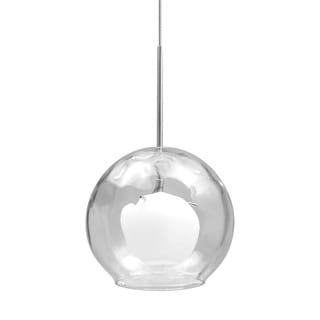 Alico Crescent 1 Light Pendant In Satin Nickel With Clear Outer Glass And White Opal Inner Glass
